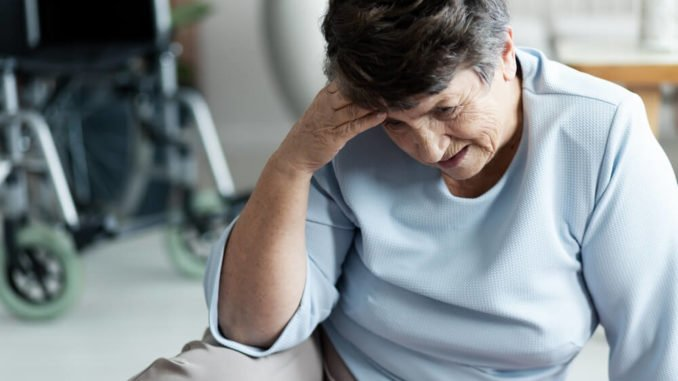 senior woman is embarrassed because she keeps falling down