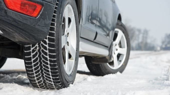 close up of winter car tire