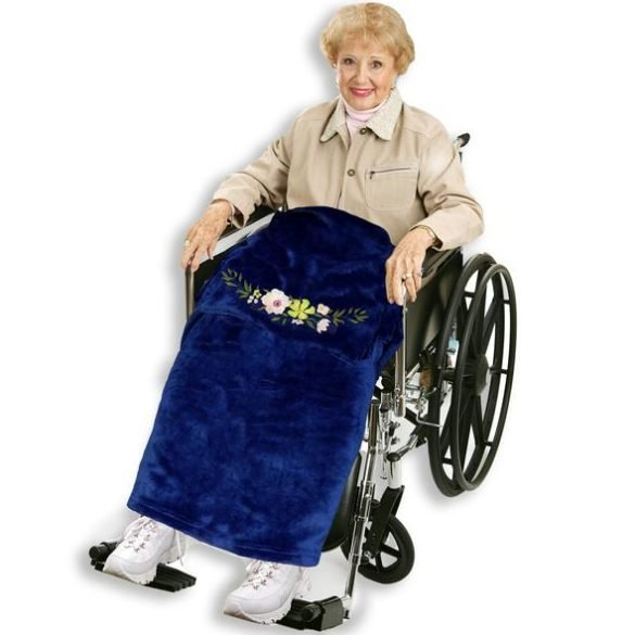 Wheelchair Blanket with Embroidered Flower
