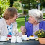 senior women enjoying quick healthy snacks