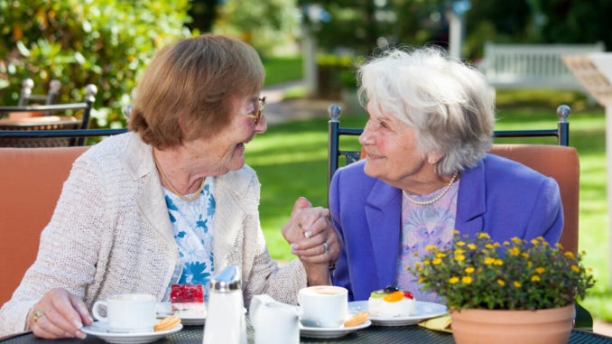 senior women enjoying quick healthy snacks