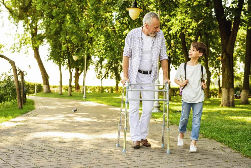 senior man using an outdoor walker