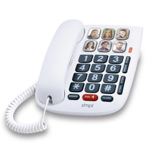SMPL Hands-Free Dial Photo Memory Corded Phone