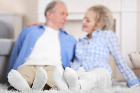 elderly couple wearing non-slip socks